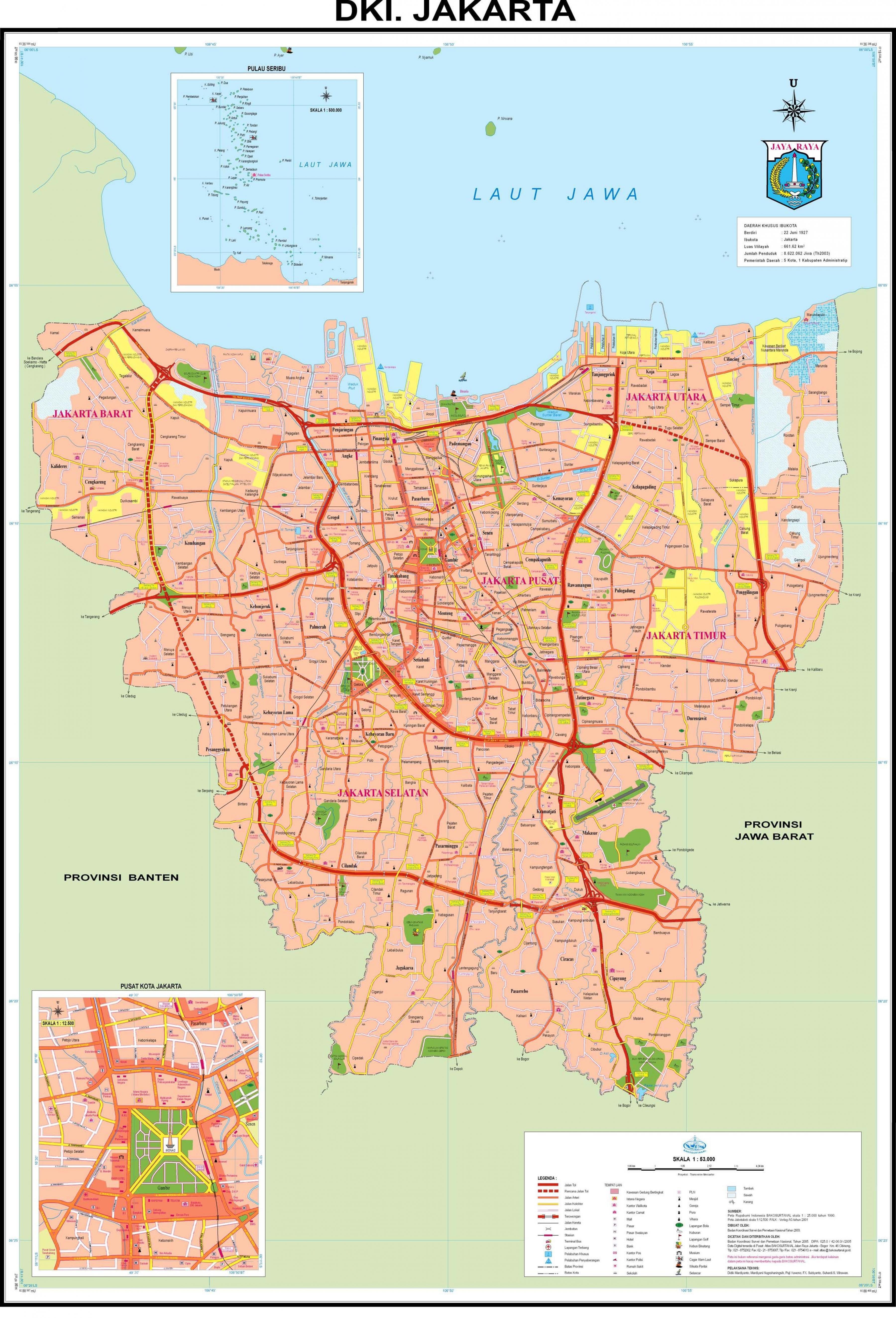 Mapa De Yakarta Yakarta Mapa De La Ciudad Java Indonesia