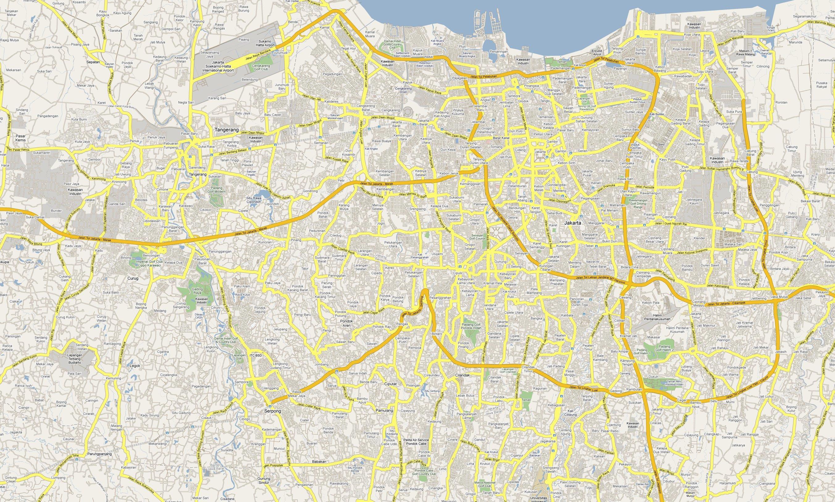 Yakarta Road Map Mapa De Yakarta Carretera Java Indonesia