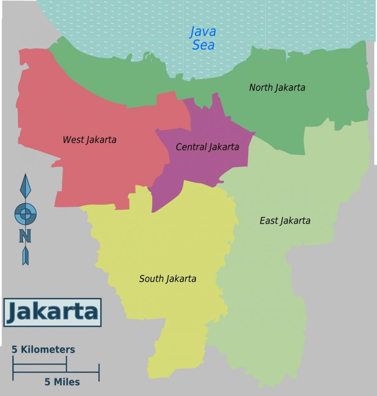 Yakarta Distritos Mapa Mapa De Yakarta Distritos Java Indonesia